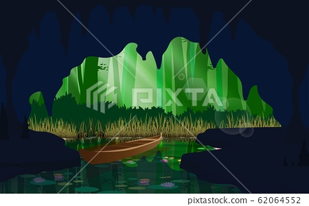landcape of the cave at the river in the jungle 62064552