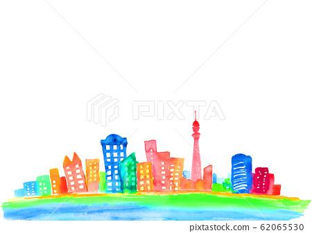城市城市市容背景圖水彩手繪 62065530
