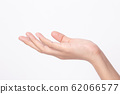 Side view of Woman hand showing on white background 62066577