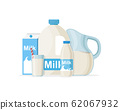 Set of milk in different packages: glass, carton, bottle isolated on White background 62067932