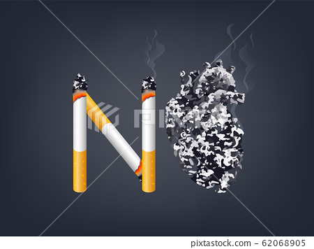 Cigarette with abstract black human heart.  62068905