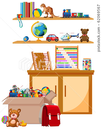 Shelf and box full of toys on white background 62069567