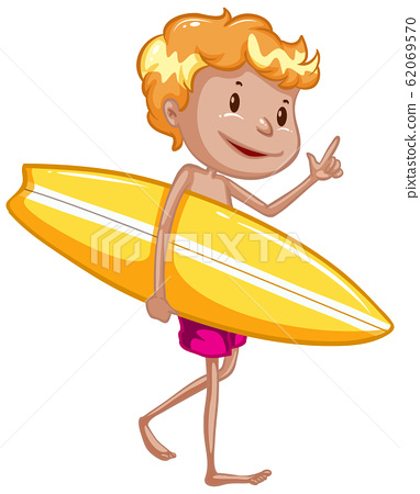 Athlete holding surfboard on white background 62069570