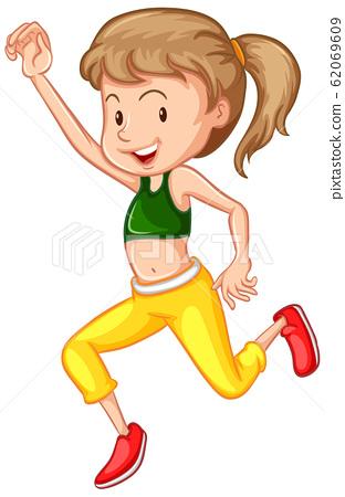 Athlete doing yoga on white background 62069609