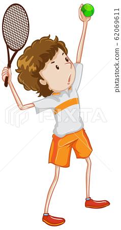 Athlete playing tennis on white background 62069611