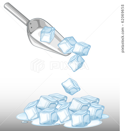 Pile of ice and metal spoon 62069658