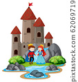 Scene with prince and princess by the big castle 62069719