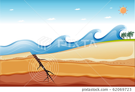 Background scene with big waves and earthquake 62069723