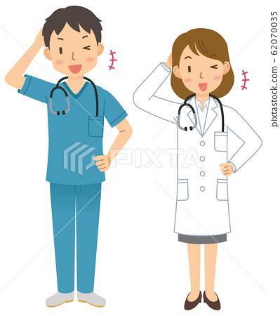 의사 / 의사 / 남성 / 여성 / 스크럽 / 백의 / 전신 ⑨ 62070035
