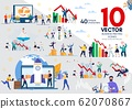 Businesspeople Life Flat Vector Concepts Set 62070867