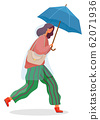 Woman Walk with Umbrella Under Rain, Fall Weather 62071936