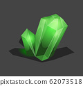 Crystalline stone or gem and precious gemstone for jewellery. Simple crystal symbol with reflection. Cartoon icon as decoration for games. Isolated Vector. Green 62073518