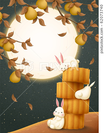 Mid autumn mooncake and rabbit 62073740