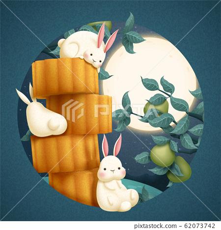 Mid autumn mooncake and rabbit 62073742