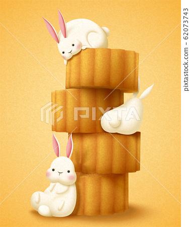 Lovely rabbit enjoying mooncakes 62073743