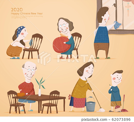 Spring cleaning family members 62073896