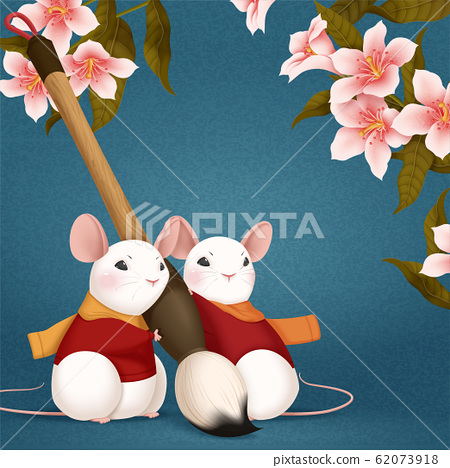 Cute mouse holding paint brush 62073918