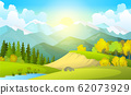 Vector illustration of beautiful summer fields landscape with a dawn, green hills, bright color blue sky, country background in flat cartoon style banner 62073929