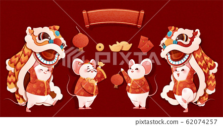 Rat year lion dance characters 62074257