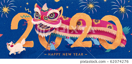 New year lion dance at night 62074276