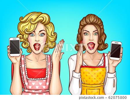 shocked women with smartphone, excited housewives 62075800