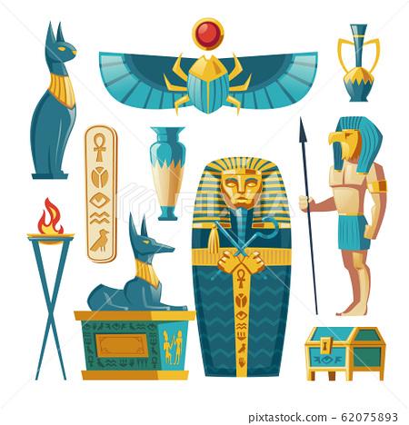cartoon Egyptian set - pharaoh sarcophagus, gods. 62075893