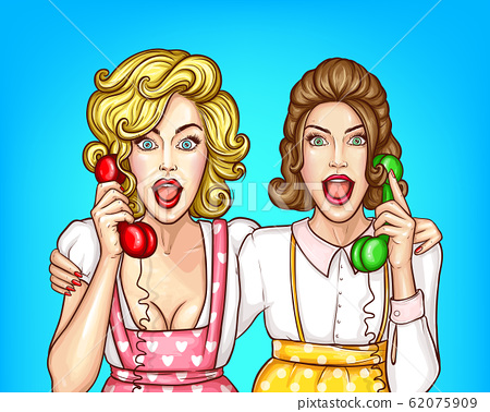 women talk on the phone, excited housewives 62075909