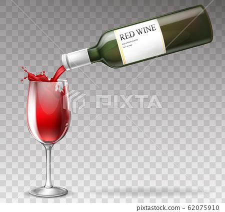 realistic wine bottle, splashing in wineglass 62075910