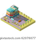 isometric shopping center with parking area 62076077