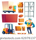 Postal delivery service cartoon icons set 62076137