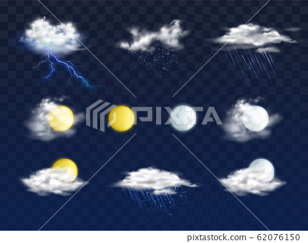 Weather forecast 3d icons realistic set 62076150