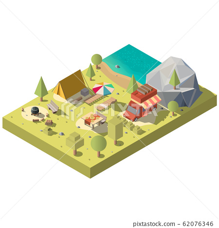 3d isometric territory for camping, recreation 62076346