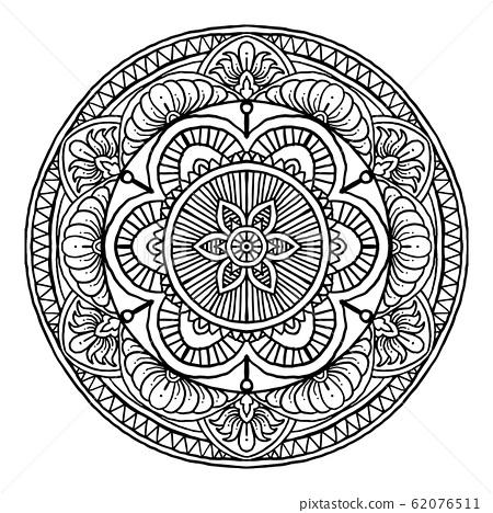 Outline Mandala decorative round ornament, hand 62076511