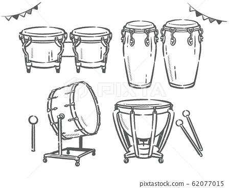 打擊樂器的插圖素材集。 62077015
