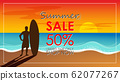 Silhouette of surf man stand with a surfboard with text summer sale for mall or store promotion and marketing. Surfing at sunset beach. Outdoor water sport adventure lifestyle.Summer activity. 62077267