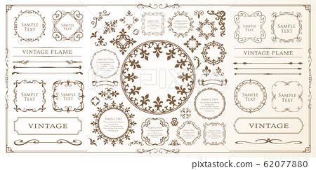 美麗的裝飾套裝,古董框架,復古設計材料 62077880