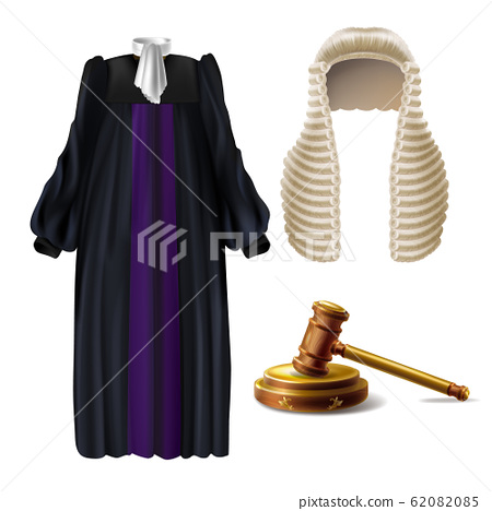 Judge formal dress and gavel realistic 62082085