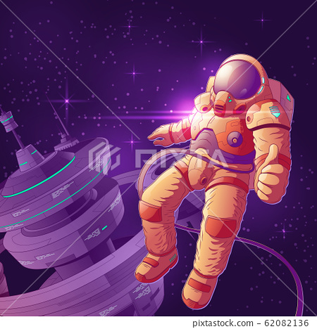 Future astronaut in outer space cartoon 62082136