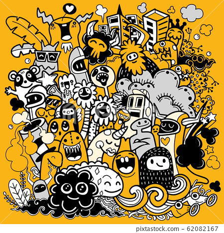 Vector illustration of happy monster, doodle style 62082167