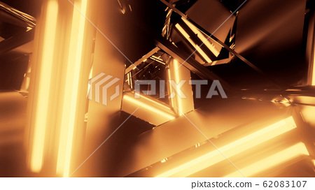 abstract 3d illustration background with abstract rotating metal triangle design with glowing lights 62083107