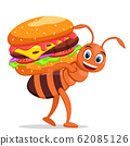 Ant carries a hamburger on a white background 62085126