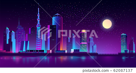neon megapolis on river at night 62087137