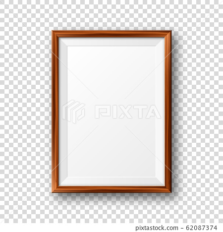 Realistic blank wooden picture frame. Modern poster mockup. Empty photo frame with texture of wood 62087374