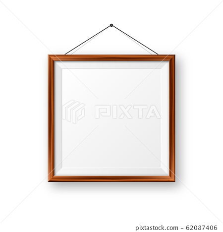 Realistic hanging on a wall blank wooden picture frame. Modern poster mockup. Empty photo frame with 62087406