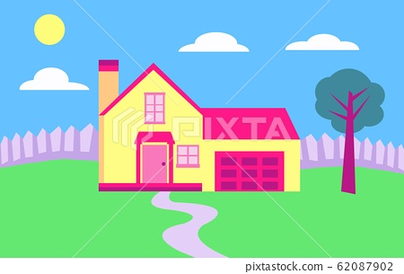 Single house and garden, vector 62087902