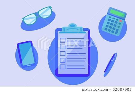 剪贴板清单智能手机眼镜计算器圆珠笔插图素材 62087903