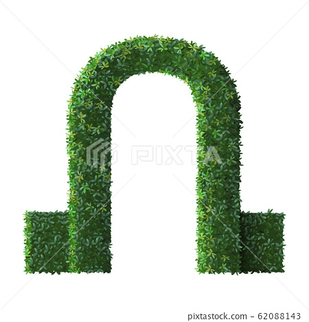 Realistic park sculpture arch. Nature green shrub fence, floral branches and leaves gate, tree crown bush foliage entrance portal vector illustration 62088143
