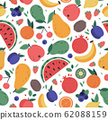 Fruits seamless pattern. Hand drawn doodle fruits, wrapping paper, vegan fabric or vegetarian meal menu, watermelon, mango, banana and strawberry vector colourful background 62088159