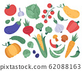 Hand drawn vegetables. Farm veggies, cartoon natural products, fresh food and vegetarian vitamins diet. Doodle organic vegetables vector illustration set 62088163