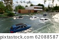 cars driving on a flooded road during a flood caused by heavy rain 3d rendering 62088587